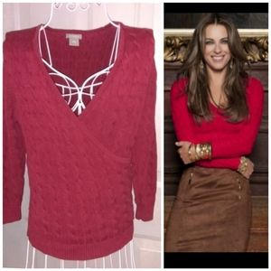Ann Taylor Wrap Sweater Red Burgundy Small